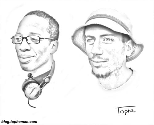 Raoul et Tophe, le duo noir et blanc du roller en dessin